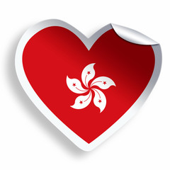 Heart sticker with flag of Hong Kong isolated on white