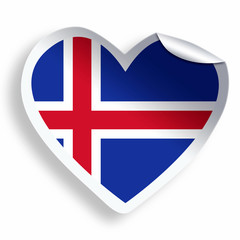 Heart sticker with flag of Iceland isolated on white
