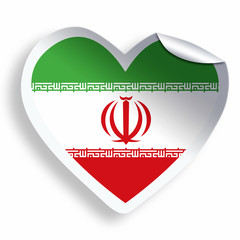Heart sticker with flag of Iran isolated on white