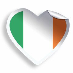 Heart sticker with flag of Ireland isolated on white