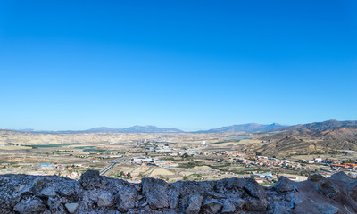 View north from Lorca Castle, Murcia Province, Spain