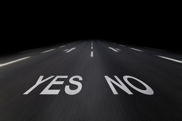 yes no auf fahrbahn