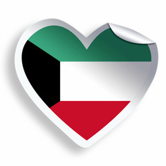 Heart sticker with flag of Kuwait isolated on white