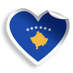 Heart sticker with flag of Kosovo isolated on white