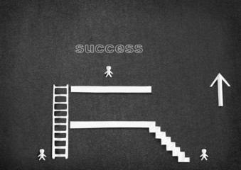 White paper people climb the ladder to success