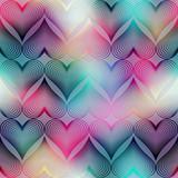Geometric hearts on blur background.