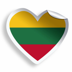 Heart sticker with flag of Lithuania isolated on white