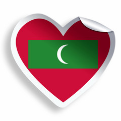 Heart sticker with flag of Maldives isolated on white