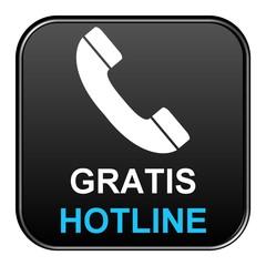 Schwarzer Button: Gratis Hotline