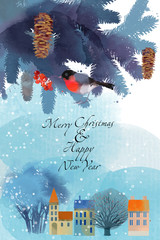 winter card Merry Chrismas Happy New Year