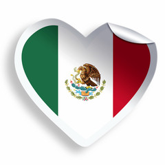 Heart sticker with flag of Mexico isolated on white