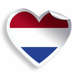 Heart sticker with flag of Netherlands isolated on white