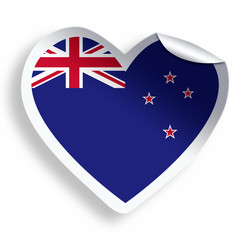 Heart sticker with flag of New Zealand isolated on white