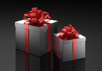 2 Geschenke vor dunklem Hintergrund
