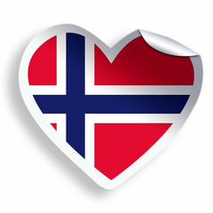 Heart sticker with flag of Norway isolated on white