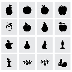 Vector apple and pear icon set