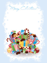 Merry Christmas invitation card with candy, vector