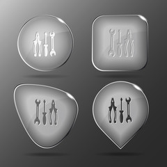 Tools. Glass buttons. Vector illustration.