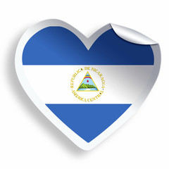 Heart sticker with flag of Nicaragua isolated on white