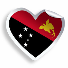 Heart sticker with flag of Papua New Guinea isolated on white