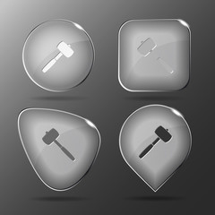 Mallet. Glass buttons. Vector illustration.