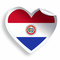 Heart sticker with flag of Paraguay isolated on white