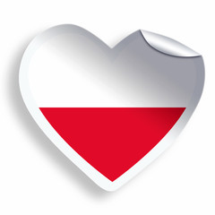 Heart sticker with flag of Poland isolated on white