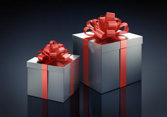 2 Geschenke vor Dunkelblau