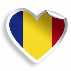 Heart sticker with flag of Romania isolated on white