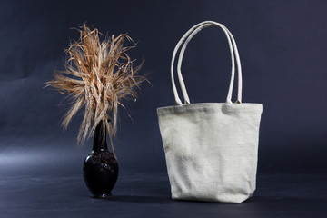 bag made out of natural eco recycled Hessian sack with rye