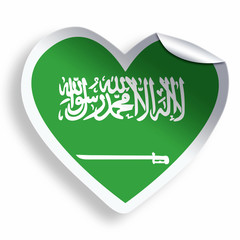 Heart sticker with flag of Saudi Arabia isolated on white
