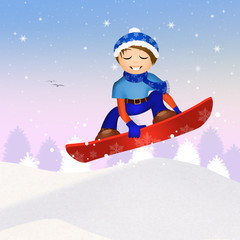 child on snowboard