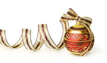 Christmas ball with bow and ribbon