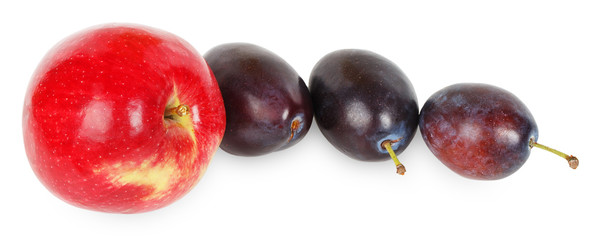 Red apple and three plums