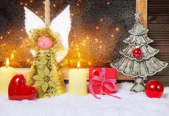 Weihnachtsengel, Herz, Tannenbaum, Geschenk