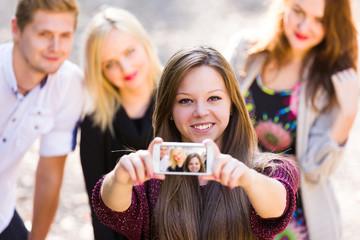 Nice people taking selfie