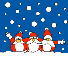 Three Santa Claus together in the snow