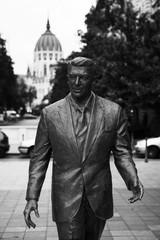 Ronald Reagan Statue and Budapest Parliament Building