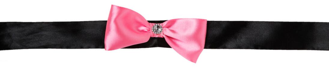 Pink bow on a black ribbon
