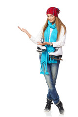 Woman inviting to skating-rink