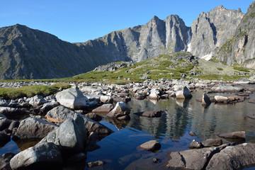 Lake in the mountains Barguzinsky Ridge on Lake Baikal.