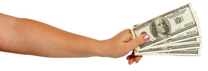 Female hand holding dollars