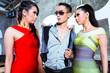 Jealous Asian woman fighting for man in nightclub