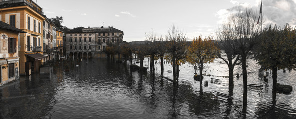 Lake Orta overflow in square of village, Piedmont
