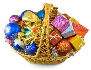 image baskets with Christmas decorations