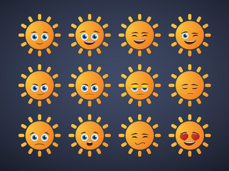 cute sun  avatar expression set