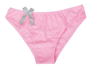 Pink women's panties with bow
