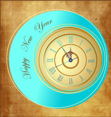 Vintage Happy New Year background with clock
