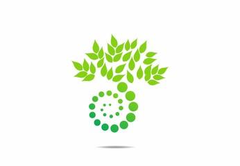 bio nature eco green circle logo vector