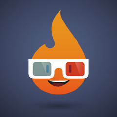 cute flame avatar wearing glasses